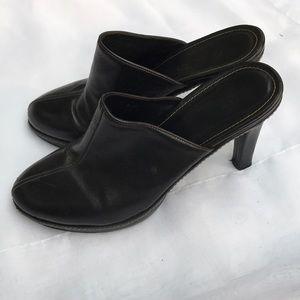 Coach Black Leather Clogs